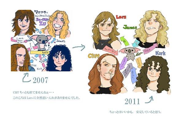 Tags: Anime, Pixiv Id 918928, James Hetfield, Cliff Burton, Lars Ulrich, Kirk Hammett, Koala, Art Evolution, Pixiv, Fanart, Fanart From Pixiv, Metallica (Band)