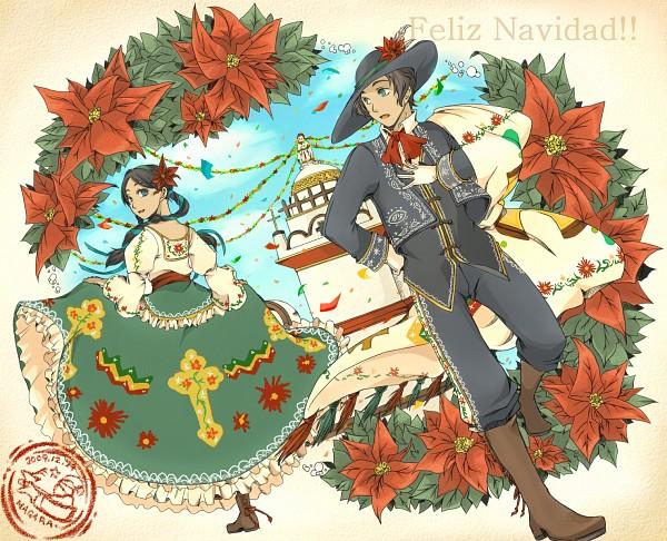 Tags: Anime, Pixiv Id 400849, Axis Powers: Hetalia, Mexico, Mexican, Spanish Text, Church, Poinsettia, Pixiv, Latinhetalia