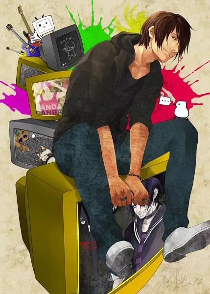 Tags: Anime, Pixiv Id 2286883, Mi-chan, Terebi-chan, Electric Guitar, Sunset Love Suicide, Song-Over, Mobile Wallpaper, Panda Hero, Nico Nico Singer, Nashimoto-p, Shinitagari, Pixiv