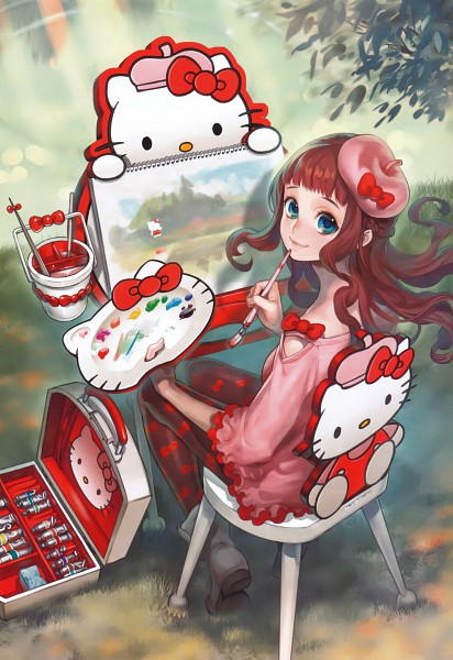 Tags: Anime, Midori Foo, Sanrio, Book of Pictures, Hello Kitty, Painting (Action), Painting (Object), Brush, Scan, Mobile Wallpaper, Pixiv