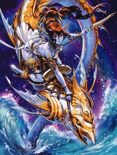 Tags: Anime, Midori Foo, Book of Pictures, Fins, Splash, Dragon Riding, Pixiv, Original, Scan