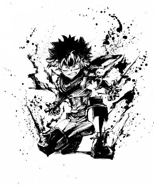 Tags: Anime, BONES (Studio), Boku no Hero Academia, Midoriya Izuku, X (Symbol), Sumi-e, Line Art, Official Art