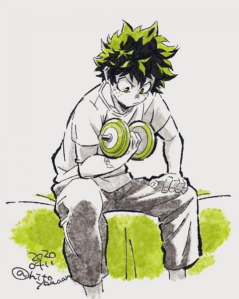 Tags: Anime, Odashima Hitomi, Boku no Hero Academia, Midoriya Izuku, Working Out, Dumbbells, Weight Lifting, Twitter, Coronavirus, Official Art