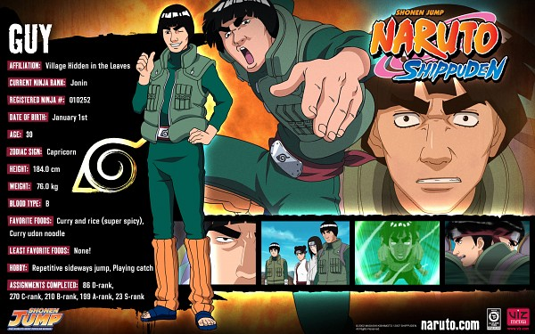 Tags: Anime, Studio Pierrot, NARUTO, Tenten, Hyuuga Neji, Rock Lee, Might Guy, Official Art, Character Sheet, HD Wallpaper, Wallpaper, Official Character Information, Team 9