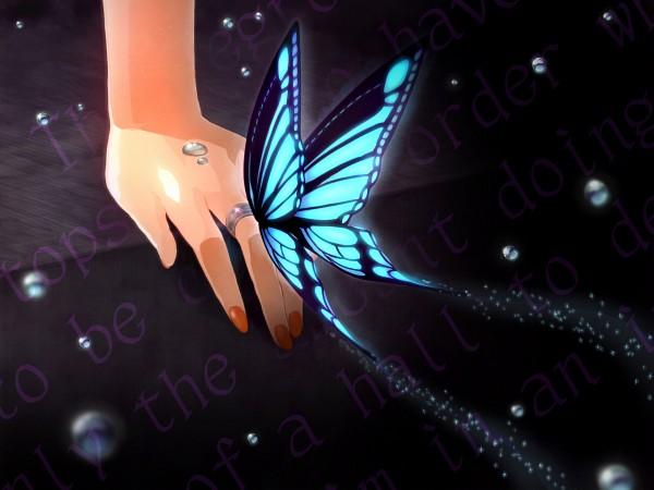 Tags: Anime, Rkp, VOCALOID, MEIKO (VOCALOID), , Hatsune Miku, Motion Blur, Lyrics, Butterfly on Hand, Depth Of Field, Wallpaper, Migikata no Chou