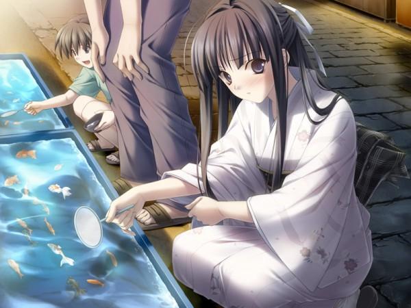 Tags: Anime, Yosuga no Sora, Migiwa Kazuha, Fishing, Goldfish Game, CG Art