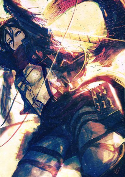 Tags: Anime, Pixiv Id 2586703, Attack on Titan, Mikasa Ackerman, Mobile Wallpaper