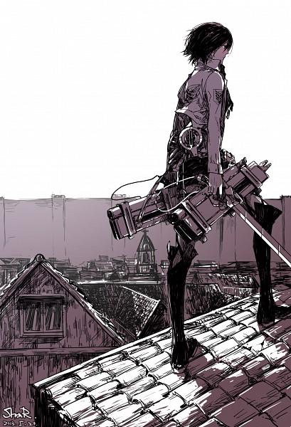 Tags: Anime, Pixiv Id 6589728, Attack on Titan, Mikasa Ackerman, Roof, Fanart, Fanart From Pixiv, Mobile Wallpaper, Pixiv