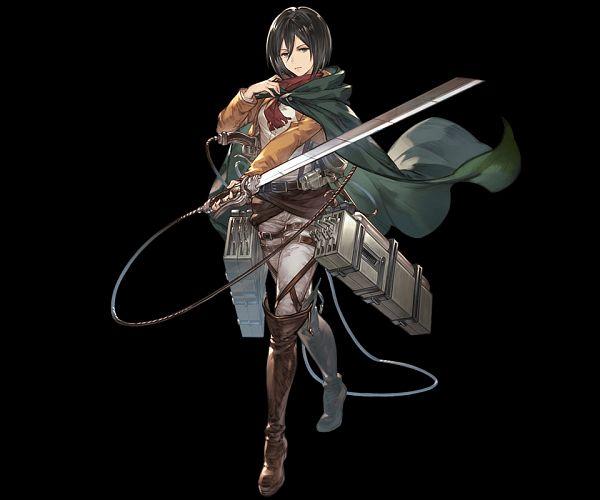 Tags: Anime, Minaba Hideo, Cygames, Attack on Titan, Granblue Fantasy, Mikasa Ackerman, Titanic Yeager, Official Art