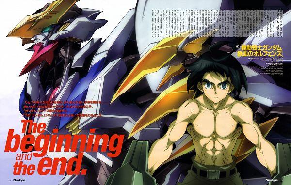 Tags: Anime, Sunrise (Studio), Kidou Senshi Gundam: Tekketsu no Orphans, ASW-G-08 Gundam Barbatos Lupus Rex, Mikazuki Augus, Official Art, Scan