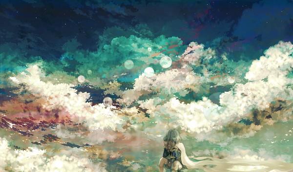 Tags: Anime, Iyumekai, Mahou Shoujo Madoka☆Magica, Miki Sayaka, Sitting In Water, Pixiv, Fanart, PNG Conversion, Fanart From Pixiv