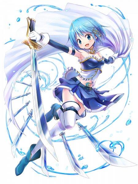 Tags: Anime, COLOPL, Mahou Shoujo Madoka☆Magica, Shironeko Project, Miki Sayaka, Multiple Weapons, Official Art