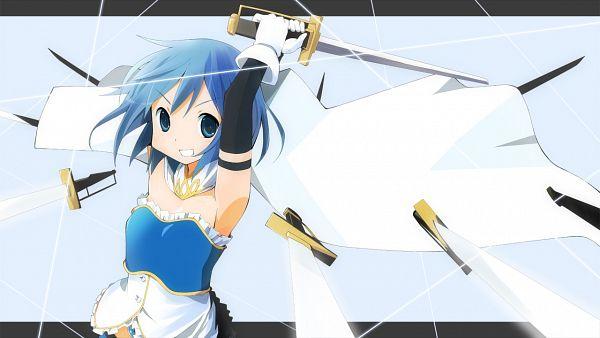 Tags: Anime, Wara (Warapro), Mahou Shoujo Madoka☆Magica, Miki Sayaka, Multiple Weapons, Fanart From Pixiv, Wallpaper, Fanart, Pixiv