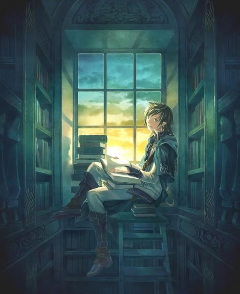 Tags: Anime, Minami Seira, Ladder, Library, Pixiv, Original
