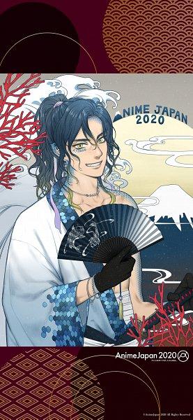 Tags: Anime, Minato (Artist), Animejapan 2020 Illust Walk, Mount Fuji, Waves, Official Art, Official Wallpaper, Mobile Wallpaper, Wallpaper