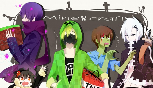 Tags: Anime, Onuko (Pixiv1861313), Minecraft, Skeleton (Minecraft), Creeper (Minecraft), Spider (Minecraft), Enderman, Zombie (Minecraft), Purple Neckwear, Green Hoodie, PNG Conversion, Pixiv, Fanart From Pixiv