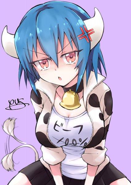 Tags: Anime, Pixiv Id 9822049, Jashin-chan Dropkick, Minos (Jashin-chan Dropkick), Cow Costume, Ushimimi, Cow Print, Cowbell