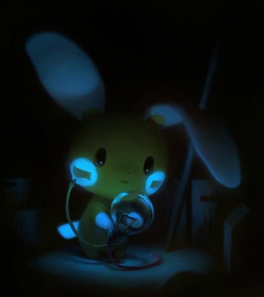 Tags: Anime, Pixiv Id 8071895, Pokémon, Minun, Bulb, Fanart, PNG Conversion, Pixiv, Fanart From Pixiv
