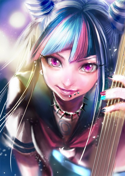 Tags: Anime, Yurinko, Super Danganronpa 2, Mioda Ibuki, Punk, Spiked Collar, Labret Piercing, Multi-colored Nails, Electric Guitar, Mobile Wallpaper, Pixiv, Fanart From Pixiv, Fanart