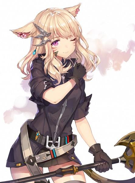 Tags: Anime, Momoko (Momopoco), Final Fantasy XIV, Miqo'te, Mobile Wallpaper, Pixiv, PNG Conversion, Fanart