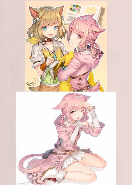 Tags: Anime, Momoko (Momopoco), Sashimi Necoya Patch 1.1, Final Fantasy XIV, Miqo'te, Comic Market 91, Scan, Comic Market