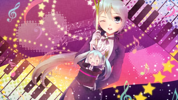 Tags: Anime, Tottsuan, Project DIVA 2nd, VOCALOID, Hatsune Miku, Hachune Miku, Project DIVA Magician, Wallpaper, Miracle Paint