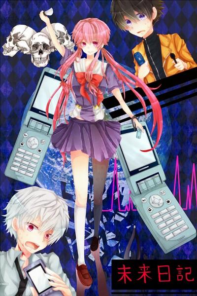 Tags: Anime, Goma (Ro-Rukixyabet), Mirai Nikki, Akise Aru, Amano Yukiteru, Gasai Yuno, Fanart From Pixiv, Fanart, Mobile Wallpaper, Pixiv, Future Diary