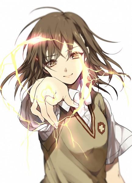 Tags: Anime, Koko (Pixiv56390), To Aru Majutsu no Index, Misaka Mikoto, Pointing at Camera, Pixiv, Fanart From Pixiv, Fanart, PNG Conversion, Mobile Wallpaper