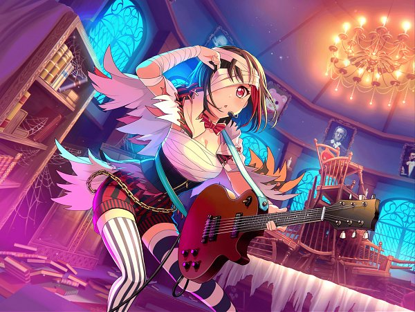 Tags: Anime, Craft Egg, BanG Dream! Girls Band Party!, Mitake Ran, Red Streak, Official Art, Official Wallpaper, Wallpaper, Official Card Illustration
