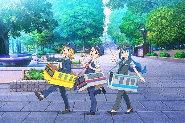 Tags: Anime, Yokota Takumi, Silver Link, Mitsuboshi Colors, Sacchan (Mitsuboshi Colors), Kotoha (Mitsuboshi Colors), Akamatsu Yui, Trash, Whistle (Object), Vending Machine, Park, Police Hat, Fountain