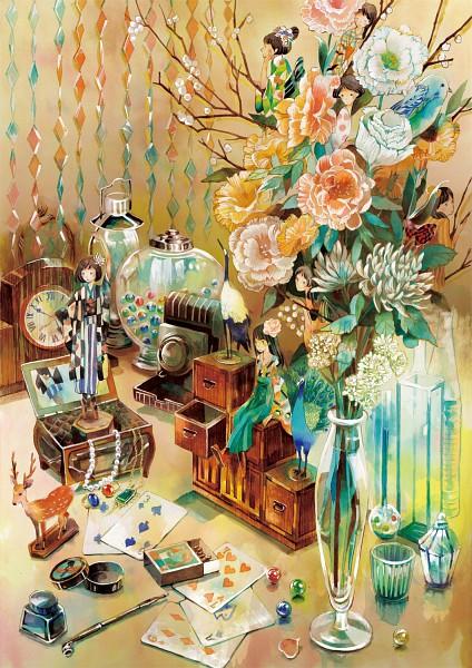 Tags: Anime, Miyabe Sachi, Peacock, Vase, Marble, Original, Watercolor, Mobile Wallpaper, Traditional Media, Pixiv