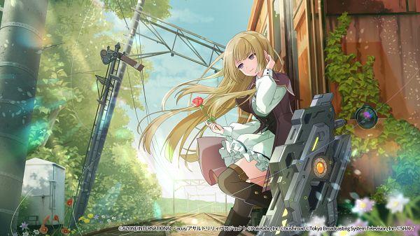 Tags: Anime, Hosoi Mieko, Pokelabo, Assault Lily Project, Assault Lily Last Bullet, Miyagawa Takane, Sign Board, Official Card Illustration, Official Art