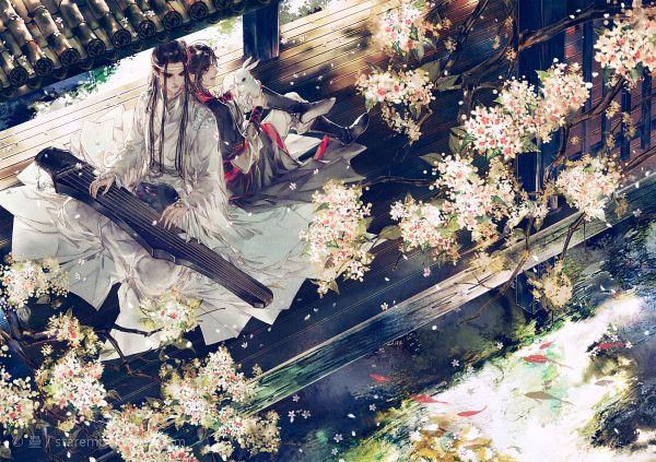 Tags: Anime, STARember, Mo Dao Zu Shi, Lan WangJi, Wei WuXian, Forehead Ribbon, Guzheng, Lofter, Fanart, WangXian