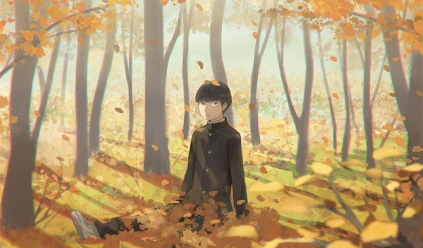 Tags: Anime, Hiko (Scape), Mob Psycho 100, Kageyama Shigeo, Sitting On Grass, Pixiv