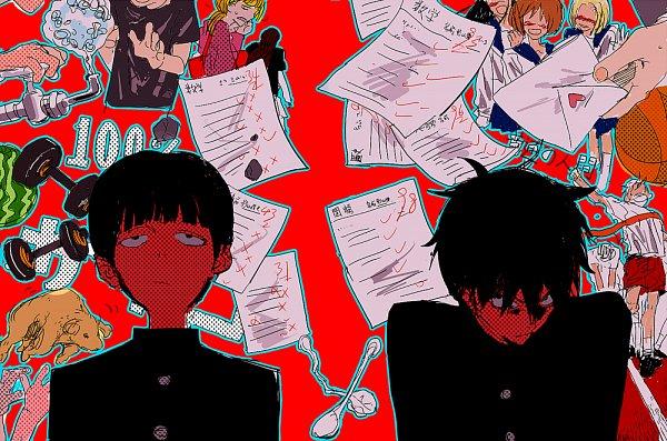 Tags: Anime, Pixiv Id 6517916, Mob Psycho 100, Kageyama Ritsu, Kageyama Shigeo, Bowl Cut, Small Pupils, Love Letter, Test, Jealousy, Fanart From Pixiv, Pixiv, Fanart