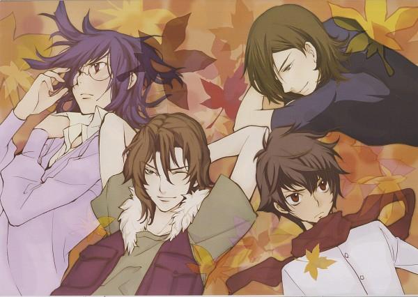 Tags: Anime, Kouga Yun, Mobile Suit Gundam 00, Kouga Yun X Gundam 00 - Design Works, Tieria Erde, Neil Dylandy, Allelujah Haptism, Setsuna F. Seiei, Wallpaper, Scan, Gundam Meisters
