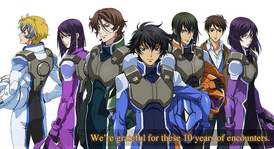 Tags: Anime, Sunrise (Studio), Mobile Suit Gundam 00, Graham Aker, Setsuna F. Seiei, Laetitia Erde, Lyle Dylandy, Saji Crossroad, Lockon Stratos, Allelujah Haptism, Tieria Erde, Space Suit, Official Art