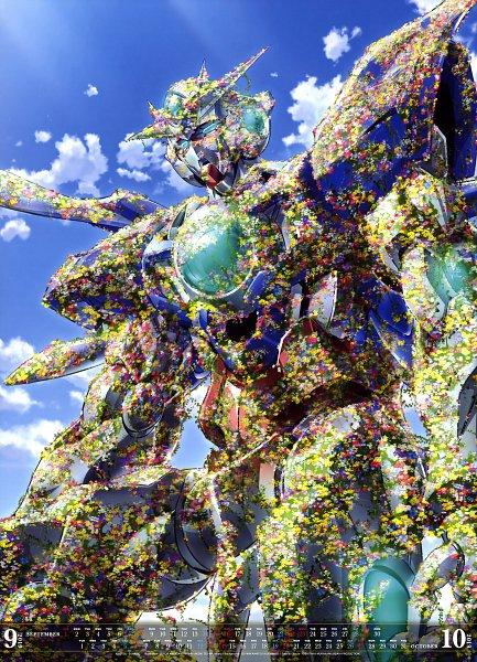 Tags: Anime, Nakatani Seiichi, Mobile Suit Gundam 00, GNT-0000 00 Qan(T), Official Art, Calendar (Source), Calendar 2019, Scan, Gundams