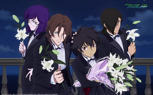 Tags: Anime, Mobile Suit Gundam 00, Neil Dylandy, Allelujah Haptism, Tieria Erde, Setsuna F. Seiei, Wallpaper, Gundam Meisters