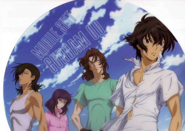 Tags: Anime, Sunrise (Studio), Mobile Suit Gundam 00, Lockon Stratos, Setsuna F. Seiei, Allelujah Haptism, Tieria Erde, Neil Dylandy, Artist Request, Official Art, Scan, DVD (Source), Gundam Meisters