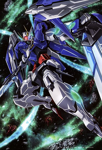 Tags: Anime, Arisawa Hiroshi, Sunrise (Studio), Mobile Suit Gundam 00, GN-0000+GNR-010 00 Raiser, Gundam Perfect Files, Official Art, Scan