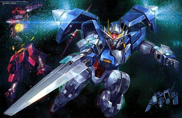 Tags: Anime, Sunrise (Studio), Mobile Suit Gundam 00, GN-0000 00 Gundam, GNT-0000 00 Qan(T), Spaceship, Gundam Perfect Files, Scan, Official Art