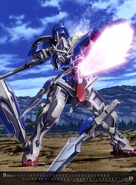 Tags: Anime, Sunrise (Studio), Mobile Suit Gundam 00, GN-001 Gundam Exia, Official Art, Calendar (Source), Calendar 2021, Gundams
