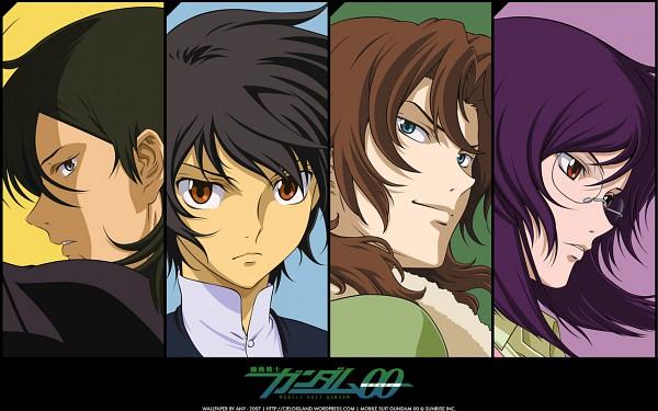 Tags: Anime, Mobile Suit Gundam 00, Lyle Dylandy, Lockon Stratos, Allelujah Haptism, Tieria Erde, Neil Dylandy, Setsuna F. Seiei, Wallpaper, Official Art, Gundam Meisters