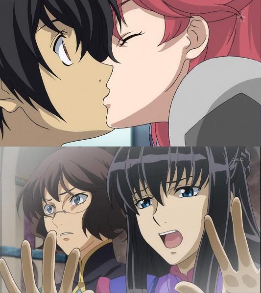 Tags: Anime, Mobile Suit Gundam 00, Marina Ismail, Setsuna F. Seiei, Shirin Bakhtiar, Nena Trinity, Surprise Kiss, Screenshot, Gundam Meisters