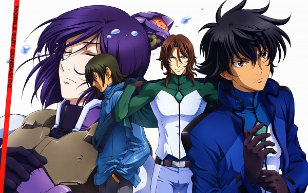 Tags: Anime, Mobile Suit Gundam 00, Lyle Dylandy, Lockon Stratos, Allelujah Haptism, Tieria Erde, Setsuna F. Seiei, Wallpaper, HD Wallpaper, Gundam Meisters