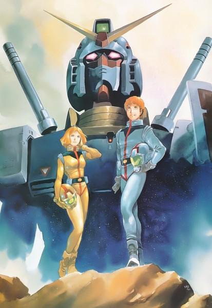 Tags: Anime, Yasuhiko Yoshikazu, Sunrise (Studio), Mobile Suit Gundam, Amuro Ray, Sayla Mass, Rx-78-2 Gundam, Pilot Uniform, Official Art, Scan, Manga Color