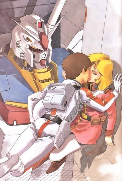 Tags: Anime, Yasuhiko Yoshikazu, Sunrise (Studio), Mobile Suit Gundam, Sayla Mass, Amuro Ray, Rx-78-2 Gundam, Scan, Manga Color, Official Art