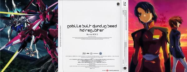 Tags: Anime, Mobile Suit Gundam SEED, Strike Gundam, Athrun Zala, Kira Yamato, Aegis Gundam, DVD (Source), Official Art, Scan