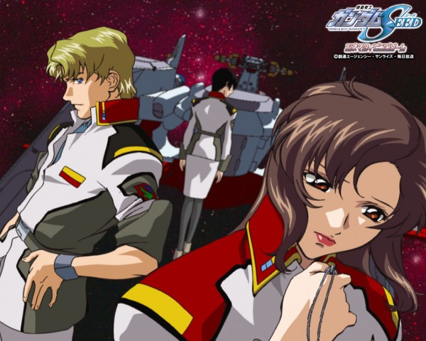 Tags: Anime, Mobile Suit Gundam SEED, Mobile Suit Gundam SEED Destiny, Natarle Badgiruel, Murue Ramius, Mwu La Flaga, Galaxy, Spaceship, Wallpaper